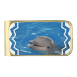 Lovable Dolphin Gold Finish Money Clip